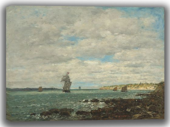 Boudin, Eugene: Coast of Brittany. Fine Art Canvas. Sizes: A4/A3/A2/A1 (003965)